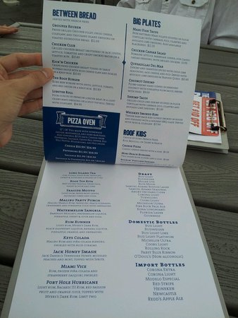 Front Of Menu Picture Of The Roof Daytona Beach