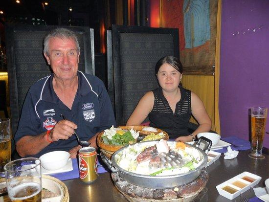 Cambodian BBQ Restaurant: Enjoying the meal