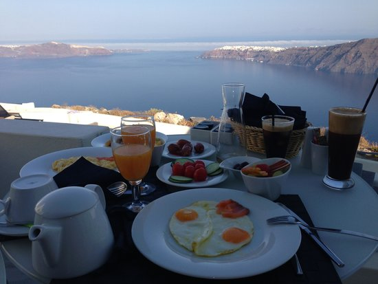 Avaton Resort: Complimentary breakfast on the balcony