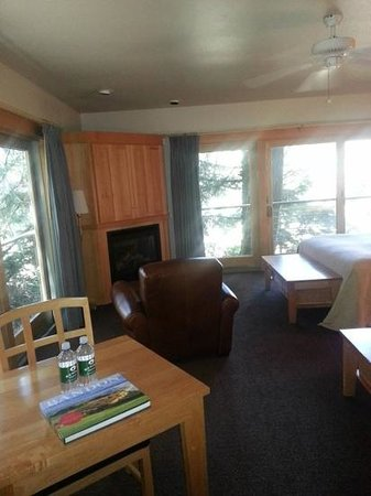 Bandon Dunes Golf Resort: Chrome Lake Fireplace and Chair with Views of thr Forest
