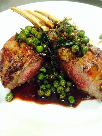 Biviano's @ Windsor: Lamb rack garlic mash, peas, rosemary jus