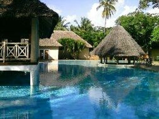 Neptune Palm Beach Boutique Resort & Spa : La piscine fait le tour du bar sur pilotis... géante !!