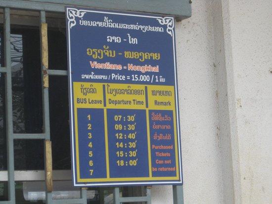 Phasouk Residence: ノンカイ行の時刻表