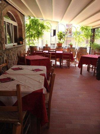 Albergo di Murlo: Terrazzo all'aperto dove abbiamo pranzato sabato 6 settembre.