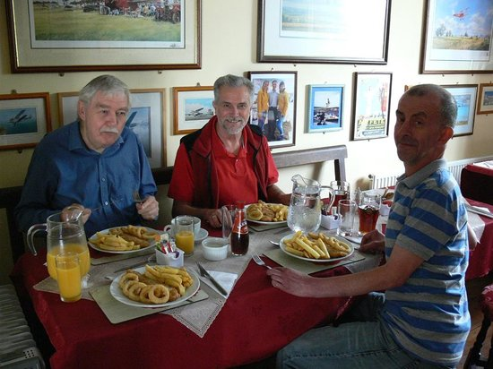 Clyffe Pypard, UK: Enjoying our Cod & Chips