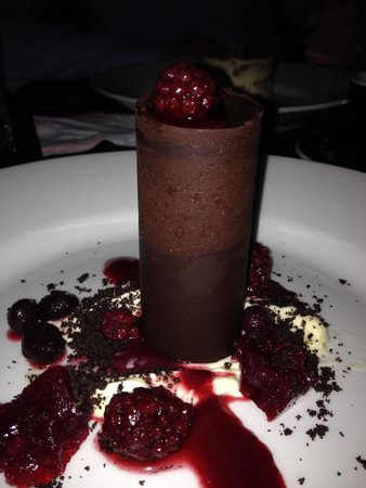 MINT Restaurant: Dark Chocolate cylinder on Oreo base with berry couli and chantilly.