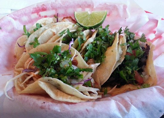 Taqueria Jalisco: Tacos Mexicana: grilled talapia, shrimp, steak, braised beef and chipotle chicken
