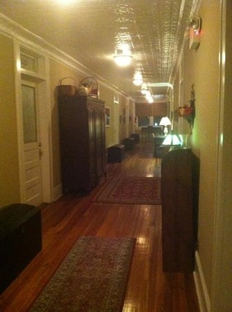 Iron Horse Station: hallway that the rooms branch off from