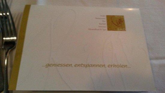 Hotel Rigi Kaltbad: Karte für 3 oder 4 Gang Menü