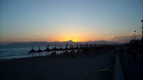 Playa de Palma, El Arenal : zachod słońca w Playa de Palma