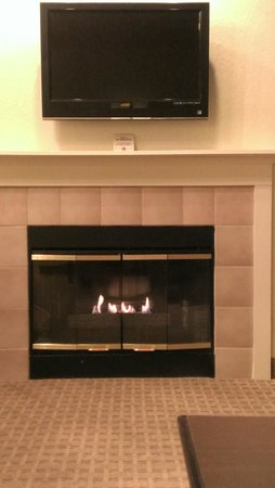 Eastland Suites Hotel & Conference Center: nice fireplace in the livingroom.