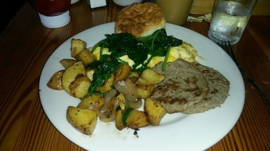 West Egg Cafe: Blue Plate with turkey sausage and potatoes