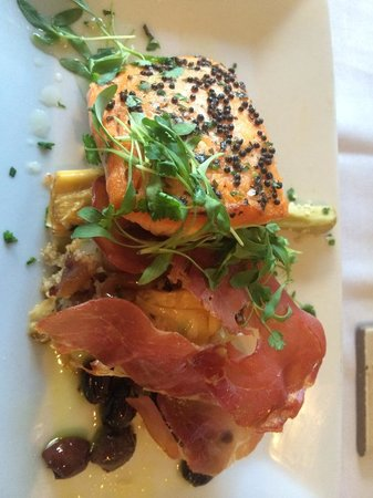 Table 16 Restaurant: salmon with artichoke couscous and prosciutto