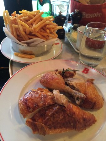 Roast organic chicken avec pommes frites Rl