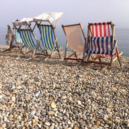 Anchor Inn Beer: Deckchairs on the beach at Beer in the September sunshine
