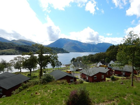 Loch Leven Chalets: the cabins with Loch Leven beyond