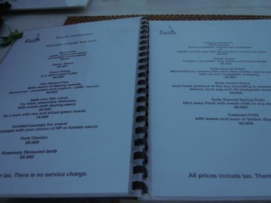 Menu Picture Of Sails Restaurant Amed Tripadvisor