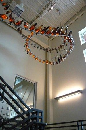 New Belgium Brewing: Interesting bottle chandelier