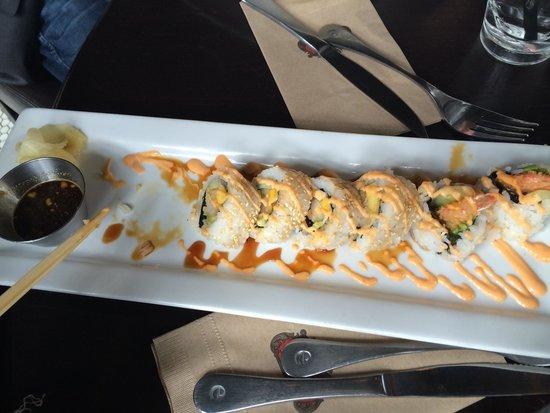 Earls: Sushi dynamite and mango roll.