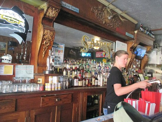 Two Bit Saloon: beautiful old wood bar, now  dominated by slot machines