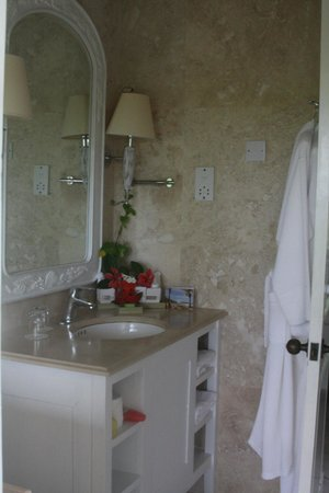 The Cotton House: Bathroom in Mango (Garden Cottage) - no electrical outlets for anything except shavers