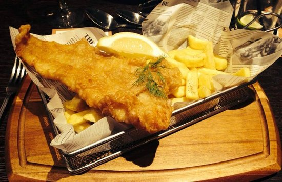 Traditional fish and chips served in the newspaper for Fish and chips newspaper