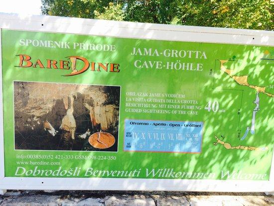 Jama - Grotta Baredine : L'insegna