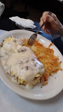C's Waffles: biscuits, sausage, eggs, gravy, hashbrowns.