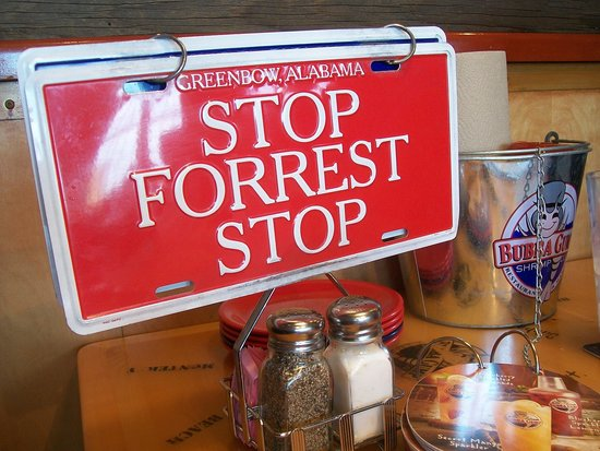 Bubba Gump Shrimp Co. : red flip sign for service