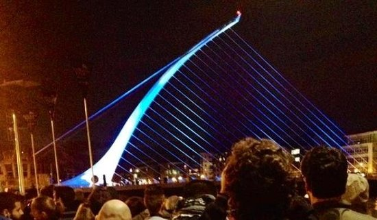 Donnybrook Hall Hotel: Tiger Fringe light and music show at the Samuel Beckett Bridge. Reason for my visit to Dublin.