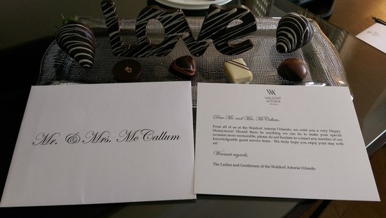 Waldorf Astoria Orlando: Room service attention to detail