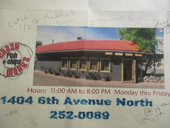 Crazy Mary's Fish and Chips: hours and address