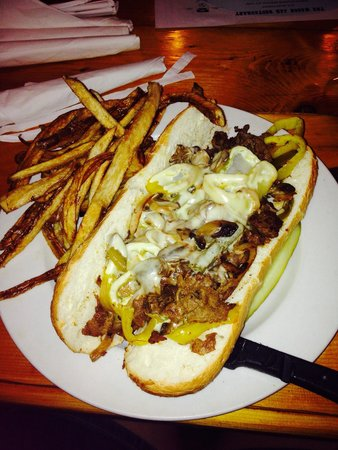 The Mason Jar Restaurant: Philly Cheesesteak and fries