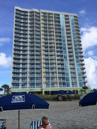 Wyndham Vacation Resorts Towers on the Grove : Hotel from beach.