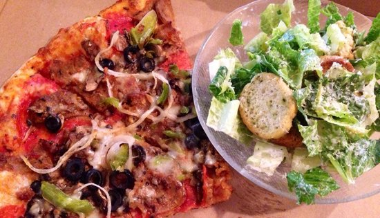 Morningstar's NY Pizza: Supreme with our Caesar salad.  Delicious affordable amazing