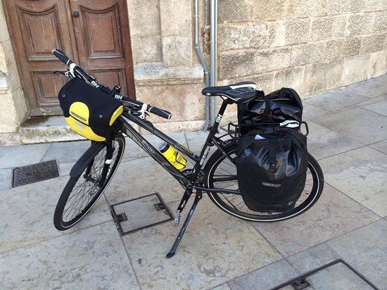 Cycling Rentals & Tours: Our bike rig, at Burgos cathedral