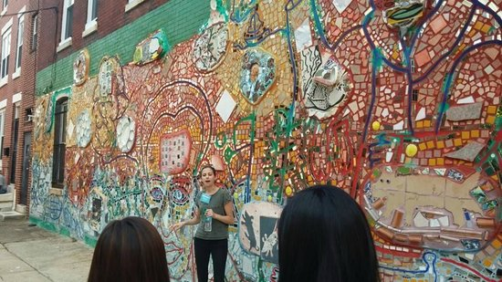 Philadelphia's Magic Gardens: One of many of Isaiah's wall murals along the tour.