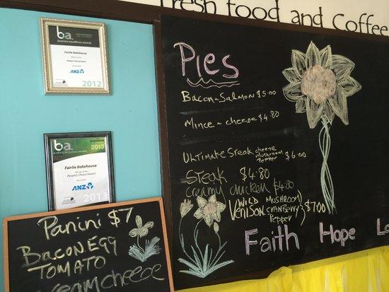 Fairlie Bakehouse: Pie menu