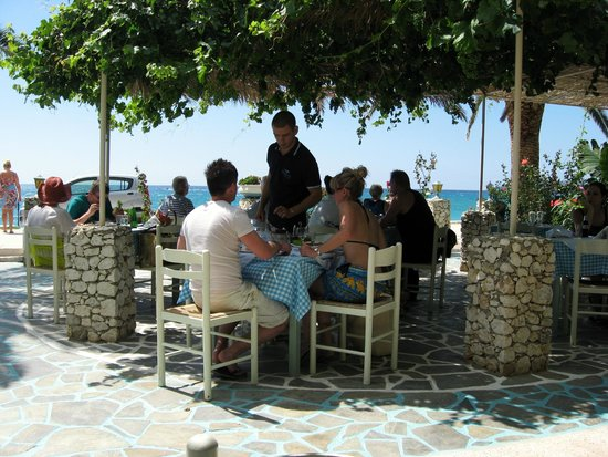 Lourdata, Greece: View from table looking to sea.
