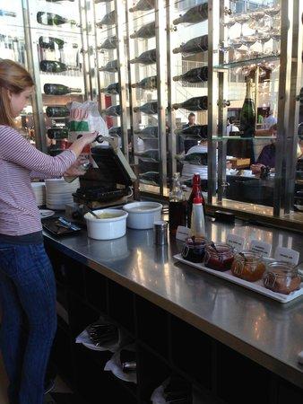 Skt. Petri: Great breakfast:  waffle-making area.