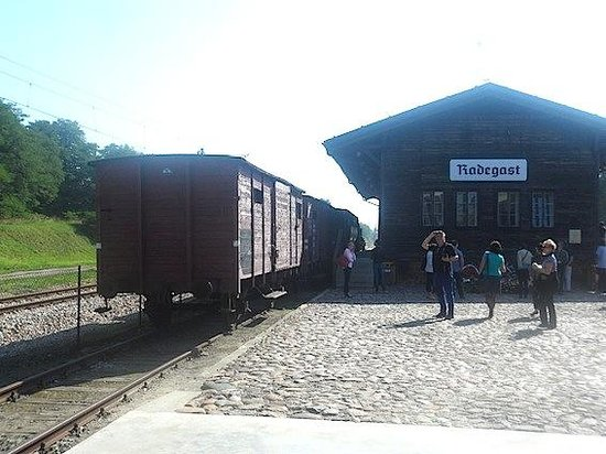 Radegast Station - Independence Traditions Museum in Lodz : Steam engine with cattle trucks at the Radegast Station museum