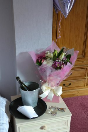 Chainbridge Hotel: The flowers and prosecco organised for my proposal!