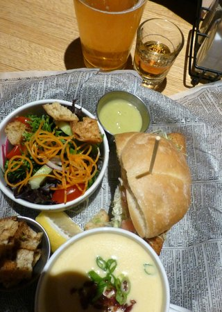 Horse & Plow: Excellent perch, beer cheese soup and salad.