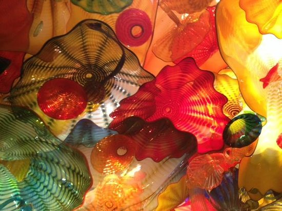 Chihuly Collection: Ceiling as you pass into the sea room
