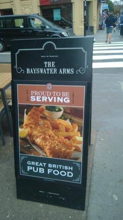 Bayswater Arms: cartello esterno