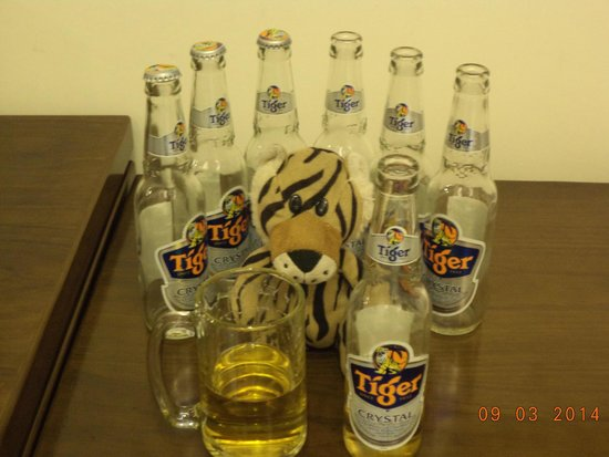 Grand Silverland Hotel & SPA: Tiger was very happy to have a beer to call his own.  I was very unhappy, because he drank it al