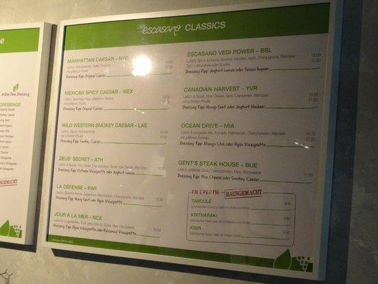 Escasano - Salad Experts: Menu