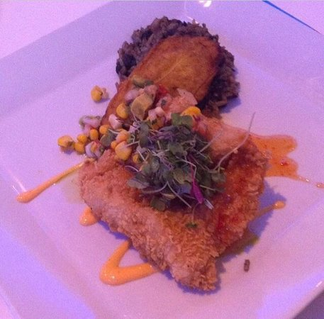 The Oceanaire Seafood Room: Panko crusted snapper with a sweet chili sauce and a side of platanos and moro
