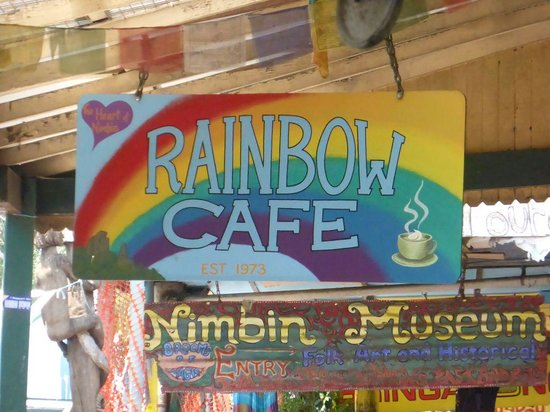 Rainbow Cafe: the sign at the main street