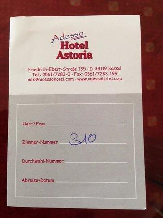 Adesso Hotel Astoria: Numero camera